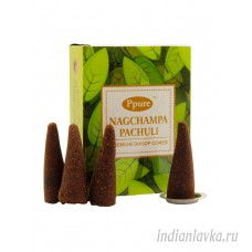 Благовония конусы Нагчампа пачули (Nagchampa Patchouli)/ Ppure – 10 шт.